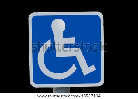 universal wheel chair sign isolated on black - stock photo