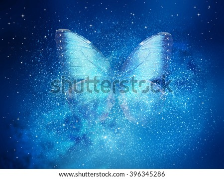 Universe filled with stars, butterfly - stock photo