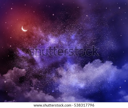 Universe filled with stars, moon and galaxy