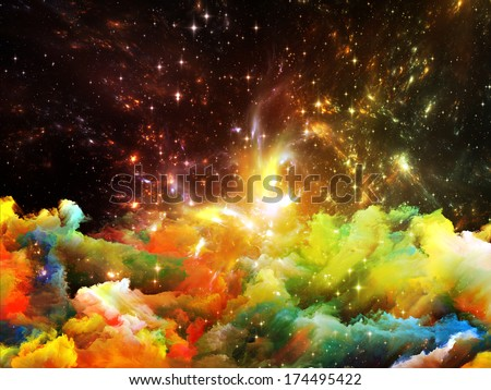 Universe Is Not Enough series. Design made of fractal elements, lights and textures to serve as backdrop for projects related to fantasy, science, religion and design - stock photo