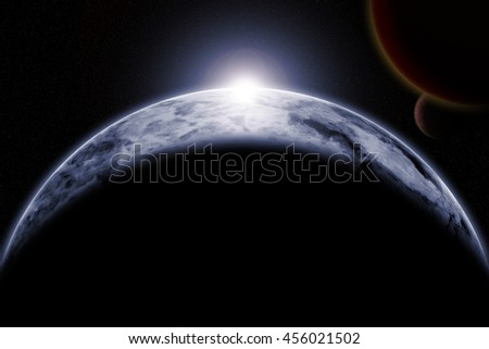 Universe scene with planets. Elements furnished by NASA
