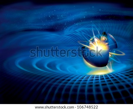 universe space ball on a streamlined shape background - stock photo