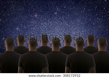 Universe. Starry sky and silhouette of man - stock photo