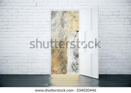 Universe view concept from the open door of brick room with wood floor 3D Render - stock photo
