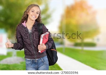 University. Beautiful College Student - stock photo