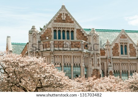 University Building and Cherry Trees.  Close up of the collegiate gothic style Smith Hall building with Yoshino cherry trees (Prunus x yedoensis), Liberal Arts quad, University of Washington, Seattle - stock photo