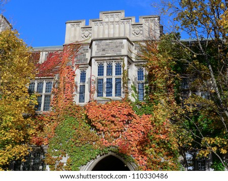 University campus with fall colors - stock photo