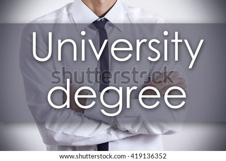 University degree - Closeup of a young businessman with text - business concept - horizontal image