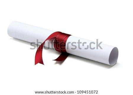 University diploma isolated on white background - stock photo