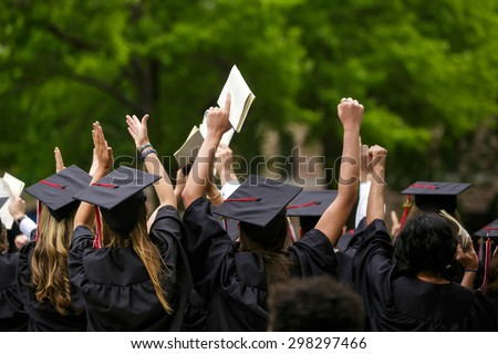 University graduation ceremonies on Commencement Day  - stock photo