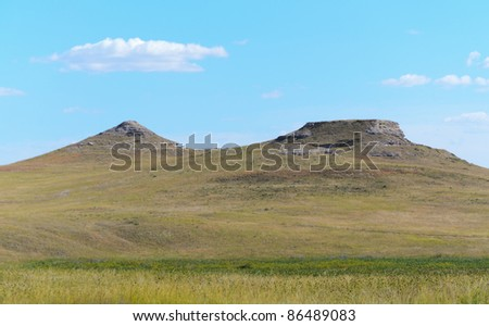 University Hill and Carnegie Hill buttes over a wetlands Agate Fossil Beds National Monument