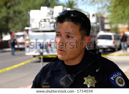 University Of Arizona police officer during disaster drill - stock photo
