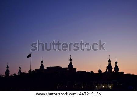 University of Tampa Minarets after Sunset - Keywords fixed - stock photo