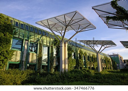 University of Warsaw Library with beautiful rooftop gardens, Warsaw, Poland - stock photo