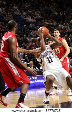 UNIVERSITY PARK, PA - FEBRUARY 24: Penn State forward Bill Edwards falls during a game against Ohio State at the Byrce Jordan Center February 24, 2010 in University Park, PA