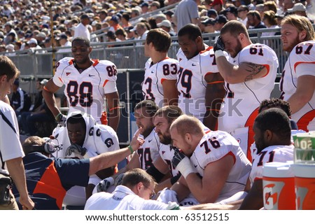 UNIVERSITY PARK, PA - OCT 9: Illinois offensive linemen on the bench against Penn State at Beaver Stadium October 9, 2010 in University Park, PA