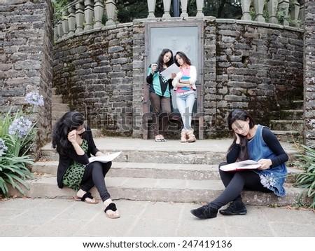 University students preparing for examination. - stock photo