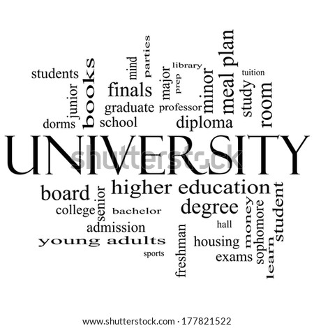 University Word Cloud Concept in black and white with great terms such as tuition, study, student, major and more. - stock photo