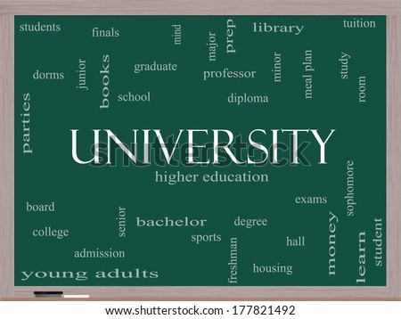 University Word Cloud Concept on a Blackboard with great terms such as tuition, study, student, major and more. - stock photo