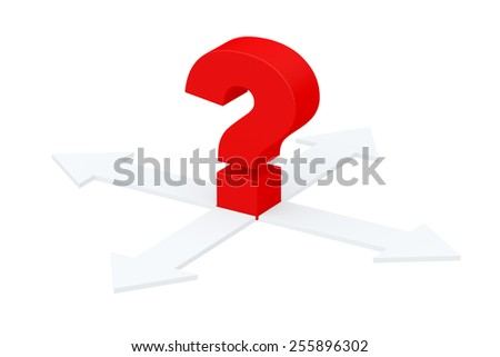 Unknown direction. Gray arrows and red question mark isolated on white background - stock photo