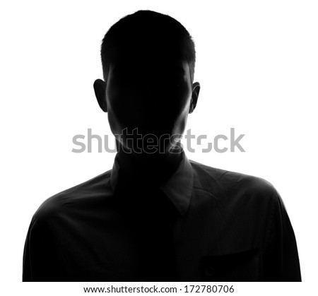 Unknown male silhouette - stock photo