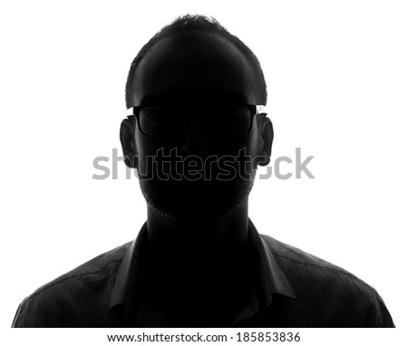 Unknown male silhouette person.Back lit isolated on white - stock photo