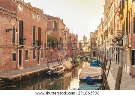 Unknown places and canals in Venice - stock photo