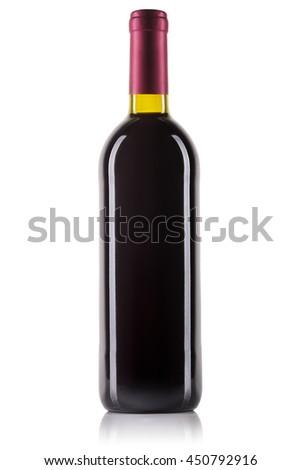Unlabeled bottle of red wine isolated on white background. - stock photo