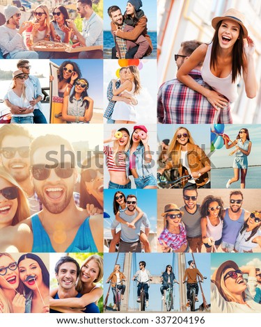 Unleashed fun. Collage of diverse multi-ethnic young people expressing positive emotions in different situations - stock photo