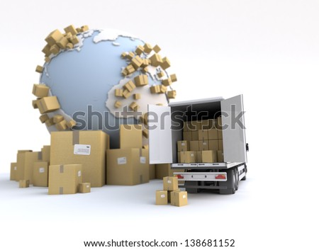 Unloading truck in an international transportation context - stock photo