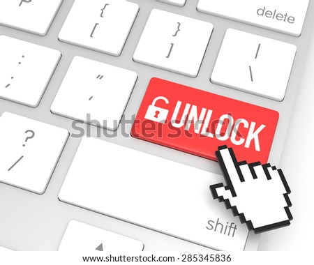 Unlock enter key with hand cursor. 3D rendering - stock photo