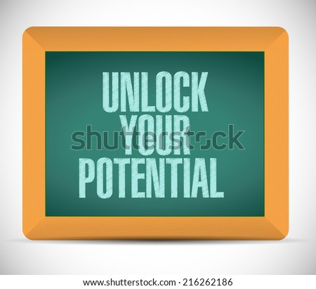 unlock your potential message illustration design over a white background - stock photo