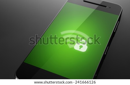 Unlocked and unsecured wi-fi on smart phone screen - stock photo