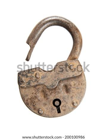 Unlocked old padlock isolated on white background - stock photo