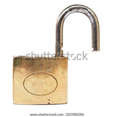Unlocked padlock on white background - stock photo