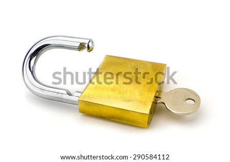 Unlocked padlock with the key on white background