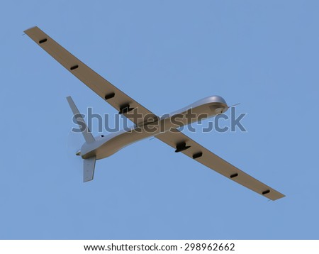 Unmanned aerial vehicle (UAV) in the sky - stock photo