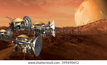 Unmanned spacecraft probes scouting a Mars like red planet, for space exploration and science fiction backgrounds.Elements of this image furnished by NASA. - stock photo