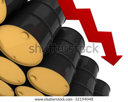 unmarked black barrels stacked row upon row with downwards red arrow - stock photo