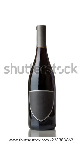 Unopened Red Wine Bottle with label isolated over white background with reflection  - stock photo