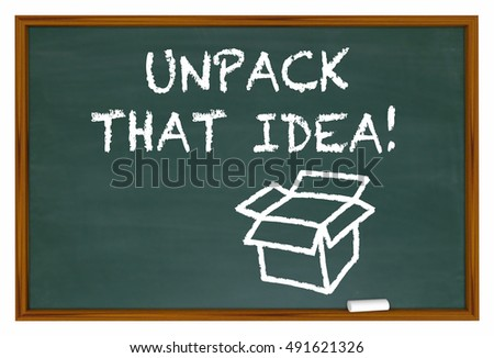 Unpack That Idea Understand Meaning Chalk Board 3d Illustration