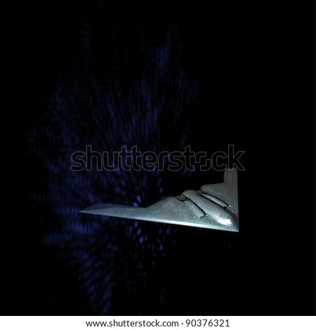 Unpiloted battle plane in fantasy scene with dark blue background - stock photo