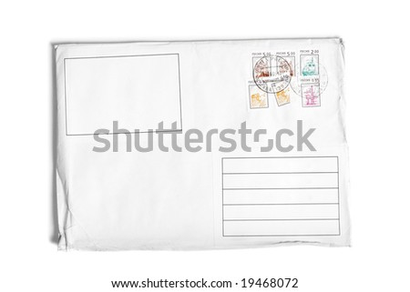 Unread letter with postage stamps  isolated over white background