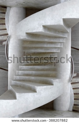 Unreal architectural detail resembling staircase. Fictional object revealed in double exposition process. - stock photo