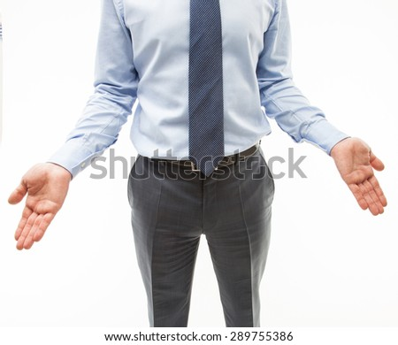 Unrecognizable businessman showing a gesture of a confusion, white background - stock photo