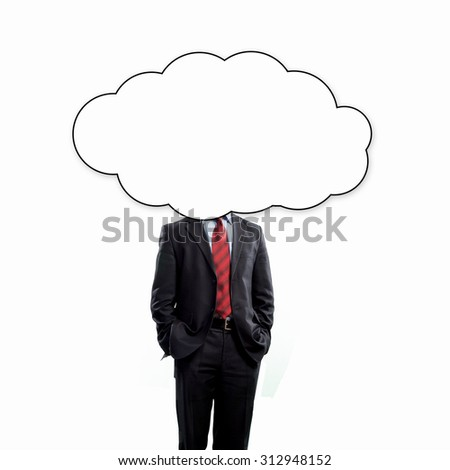 Unrecognizable businessman with cloud instead of head - stock photo