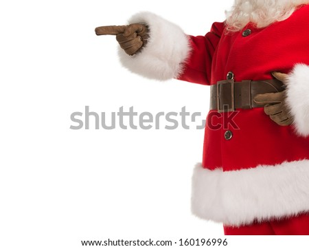 Unrecognizable Santa Claus gesturing his hand isolated over white background. Presenting something - stock photo