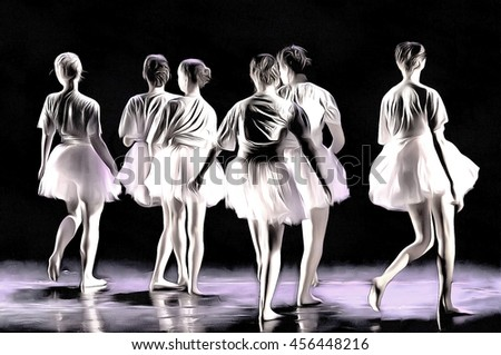 unrecognizable young ballet dancers  drawing filter