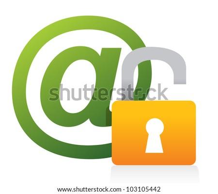 Unsafe concept AT symbol illustration design - stock photo