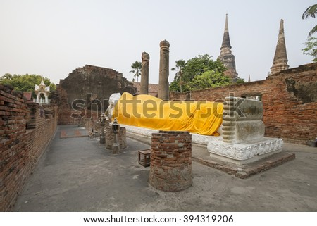 Unseen Thailand, UNESCO World Heritage Site,Ancient Buddha at Wat Yai Chai Mongkhon of Ayuthaya, Thailand, Thailand,public domain or treasure of Buddhism, no restrict in copy or use - stock photo